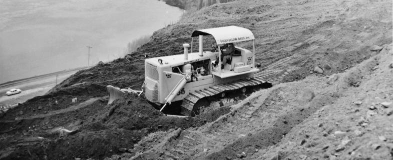 GBI bulldozers working near the Columbia River
